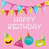 Happy Birthday card template with different shapes