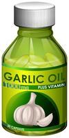Um óleo de alho de cápsulas de garrafa