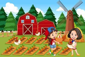 Niña en la granja