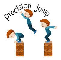 Exercício de salto no fundo branco