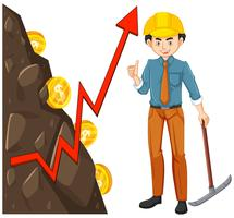 Worker with Coin Mining
