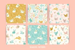 Vector seamless patterns with bunnies and chicken for Easter and other users.