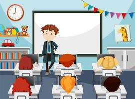 Teacher in it classroom vector