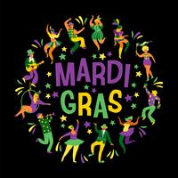 Mardi Gras. Vector illustration of funny dancing men and women in bright costumes