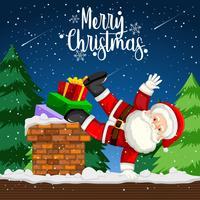 Ein Weihnachtsmann tanzt auf dem Dach