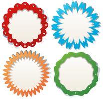 Étiquette sertie de badges ronds colorés