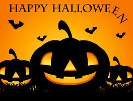 Gelukkige Halloween-kaart met hefboom-o-lantaarn