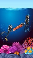 Underwater dive recuse ocean background
