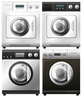 Set of washing machines in different designs