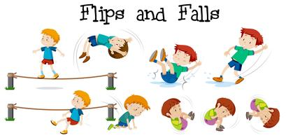 Flips and Falls boy on white background