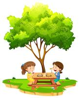 Two girls eating under a tree