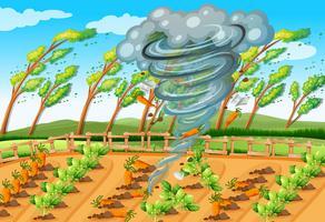 Tornado en escena de la granja