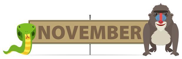 November Schild mit Schlange und Gorilla