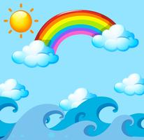 Rainbow and sun over the ocean vector
