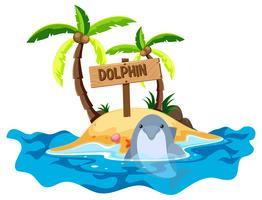 Scene with dolphin and island vector