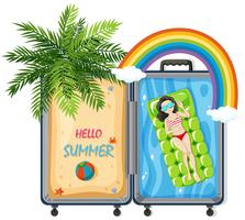 Hello summer in suitcase