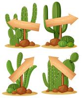 Different designs for wooden arrows on cactus