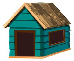 A dog house on white background vector