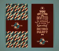 Einladung zur Retro-Party. Vintage retro geometrischen Hintergrund.