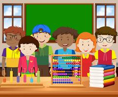 Children with happy face in the classroom vector