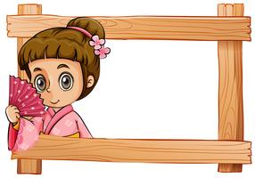 A wooden frame with a girl