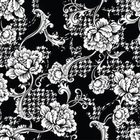 Eclectic fabric plaid seamless pattern with baroque ornament.