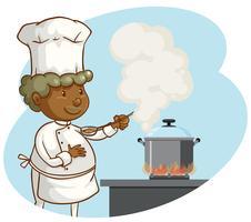 Ein Berufschef, der auf weißem Hintergrund kocht