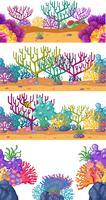 Quatro cenas com recife de coral debaixo d'água