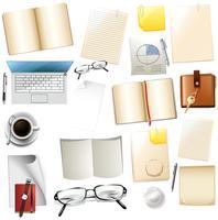 Fournitures de bureau différentes sur fond blanc