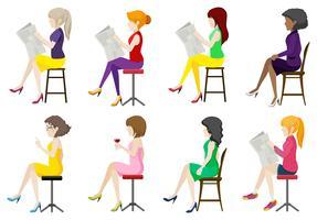 Acht gesichtslose Damen, die sich hinsetzen