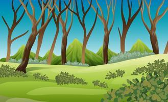 Aardscène met bomen en bergen