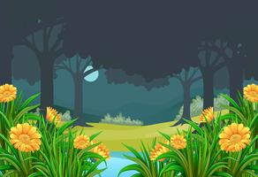 Scene with flower field in forest at night vector