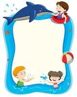 Blank banner with children playing in water