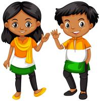 Boy and girl from India waving hands