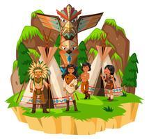 Índios nativos americanos em suas tendas