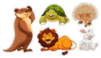Conjunto de adesivos de muitos animais selvagens