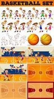 Juego de baloncesto con jugadores y canchas.