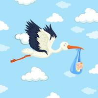 Stork delivering baby boy