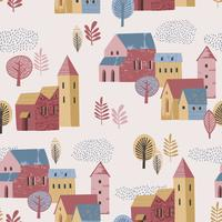 Vector illustration of city in the rain. Autumn mood. Seamless pattern.
