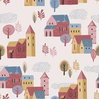 Illustration vectorielle de la ville sous la pluie. Humeur d'automne. Modèle sans couture.