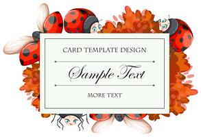 Card template with ladybugs