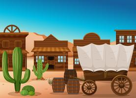 Houten wagen en gebouw in de woestijn