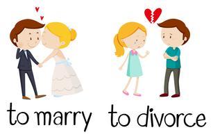 Palabras opuestas para casarse y divorciarse. vector