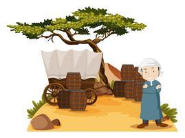 Hombre árabe está junto a la carreta
