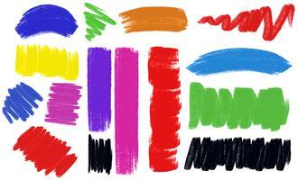 Olika penselsträckor i många färger