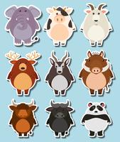 Sticker set with many wildlife on blue background