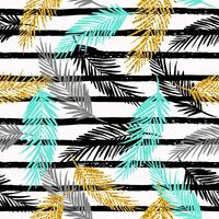 Seamless exotic pattern with palm leaf silhouettes.