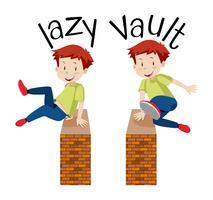 Ein Junge springt über eine Mauer