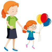 Mother and daughter holding balloons