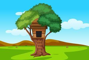 Trois maison dans un paysage naturel